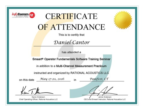 Smaartreg Operator Acoustic Software Certification