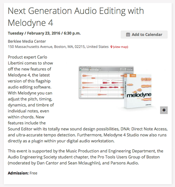 Melodyne 4 Comes to Berklee Media Center Tonight